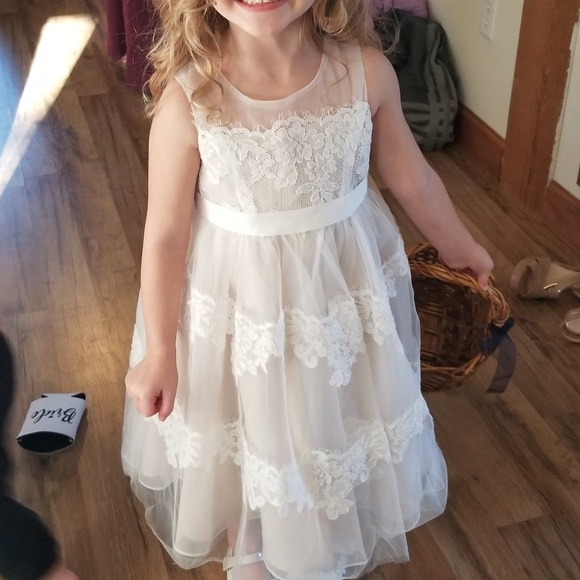 Banded Lace Illusion Flower Girl Dress